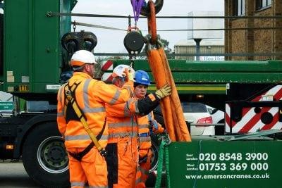 Contract Lift - Crane personnel preparing for lift